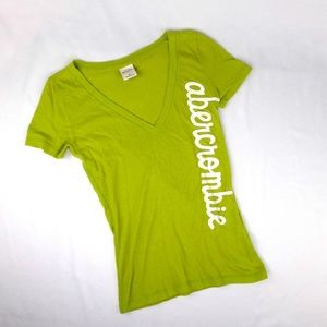 Abercrombie KIDS Green V-neck Spell Out Tee
